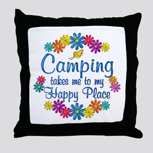 Camping Happy Place Throw Pillow