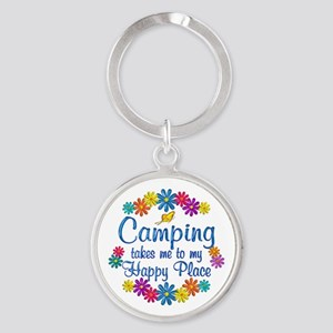 Camping Happy Place Round Keychain