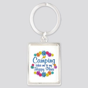 Camping Happy Place Portrait Keychain