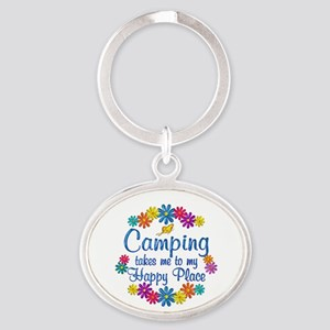Camping Happy Place Oval Keychain