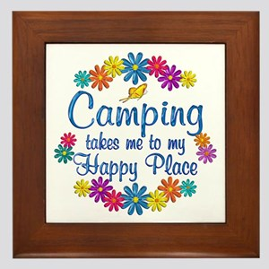 Camping Happy Place Framed Tile