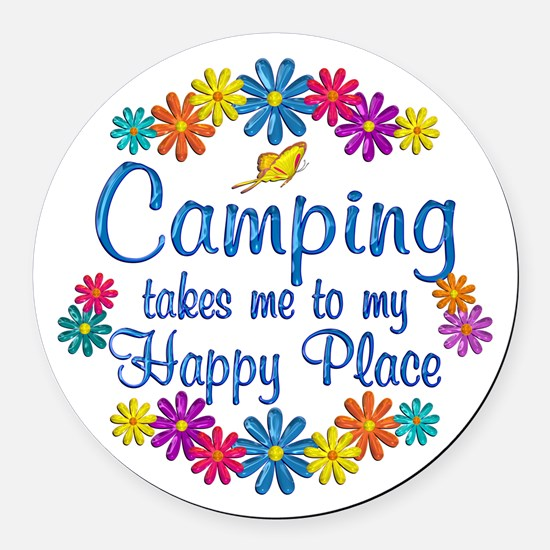 Camping Happy Place Round Car Magnet