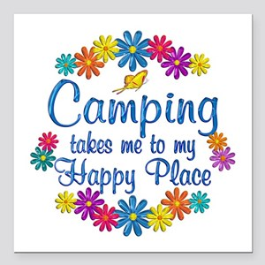 "Camping Happy Place Square Car Magnet 3"" x 3"""
