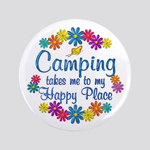 """Camping Happy Place 3.5"""" Button"""