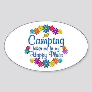 Camping Happy Place Sticker (Oval)