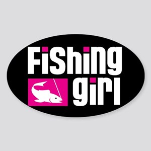 Fishing Girl Oval Sticker