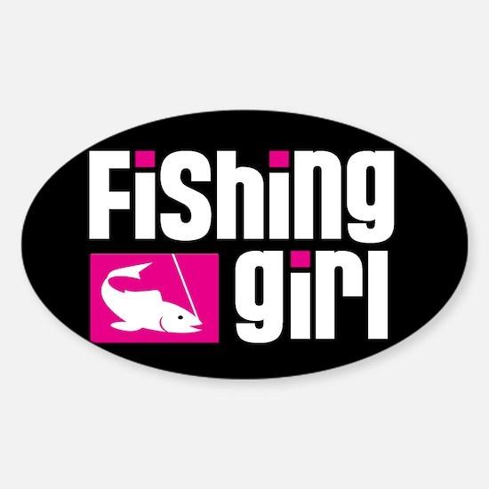 Fishing Girl Oval Decal