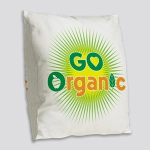 Powered by Plants Burlap Throw Pillow