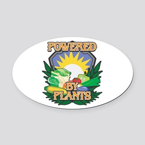 Powered by Plants Oval Car Magnet