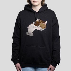 Calico Cat Sleeping Women's Hooded Sweatshirt