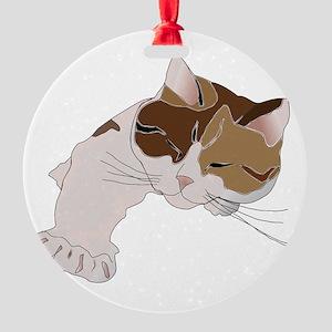 Calico Cat Sleeping Round Ornament