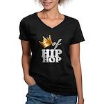 King/Queen of Hiphop Women's V-Neck Dark T-Shirt