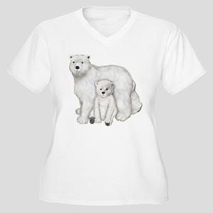 Polar Bears Women's Plus Size V-Neck T-Shirt