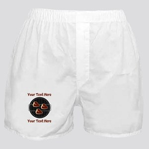 CUSTOM TEXT Meat On BBQ Grill Boxer Shorts