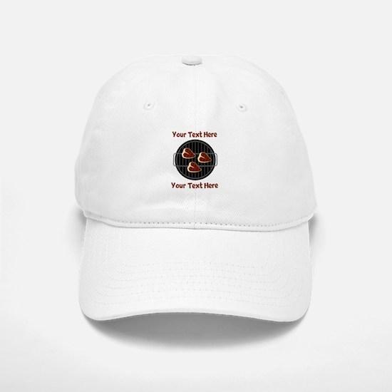 CUSTOM TEXT Meat On BBQ Grill Baseball Baseball Cap