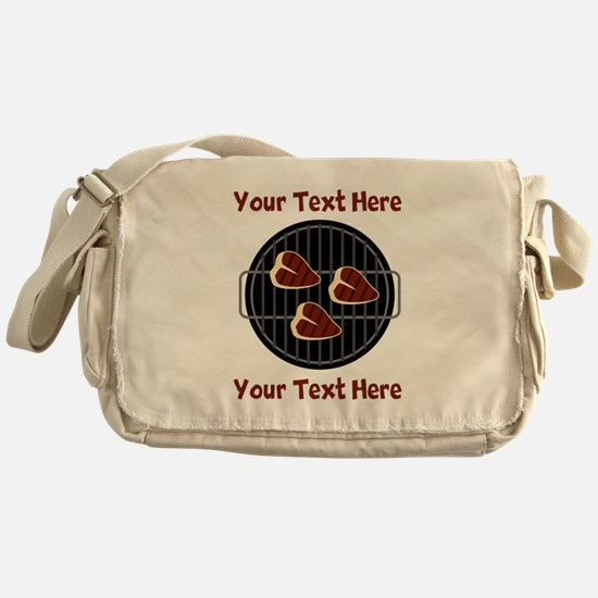 CUSTOM TEXT Meat On BBQ Grill Messenger Bag