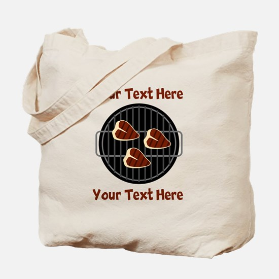 CUSTOM TEXT Meat On BBQ Grill Tote Bag