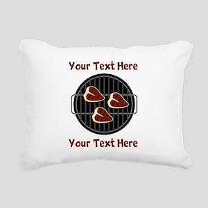 CUSTOM TEXT Meat On BBQ Rectangular Canvas Pillow