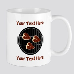 CUSTOM TEXT Meat On BBQ Grill Mug