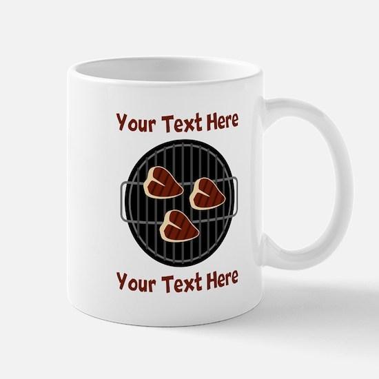 CUSTOM TEXT Meat On BBQ Grill Mug