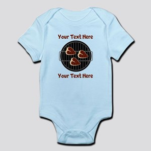 CUSTOM TEXT Meat On BBQ Grill Infant Bodysuit