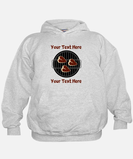 CUSTOM TEXT Meat On BBQ Grill Hoodie