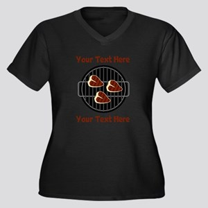 CUSTOM TEXT Women's Plus Size V-Neck Dark T-Shirt