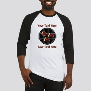 CUSTOM TEXT Meat On BBQ Grill Baseball Jersey