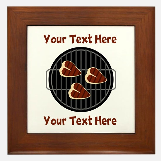CUSTOM TEXT Meat On BBQ Grill Framed Tile