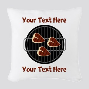 CUSTOM TEXT Meat On BBQ Grill Woven Throw Pillow