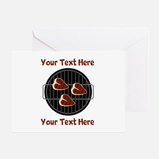 CUSTOM TEXT Meat On BBQ Grill Greeting Card