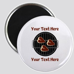 CUSTOM TEXT Meat On BBQ Grill Magnet
