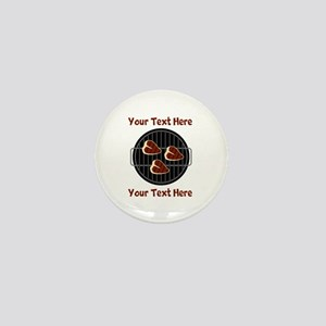 CUSTOM TEXT Meat On BBQ Grill Mini Button