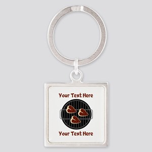CUSTOM TEXT Meat On BBQ Grill Square Keychain