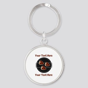CUSTOM TEXT Meat On BBQ Grill Round Keychain