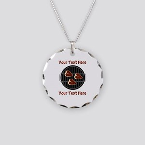 CUSTOM TEXT Meat On BBQ Gril Necklace Circle Charm