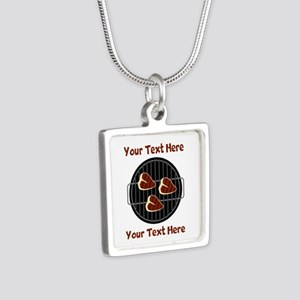 CUSTOM TEXT Meat On BBQ Gr Silver Square Necklace