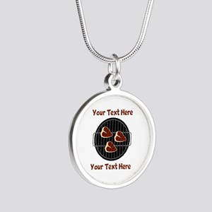 CUSTOM TEXT Meat On BBQ Gril Silver Round Necklace