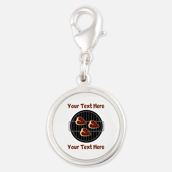 CUSTOM TEXT Meat On BBQ Grill Silver Round Charm