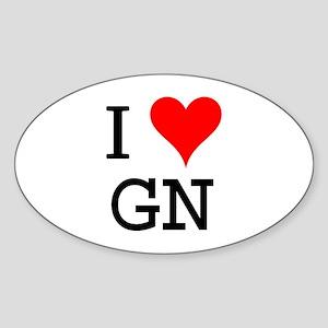 I Love GN Oval Sticker