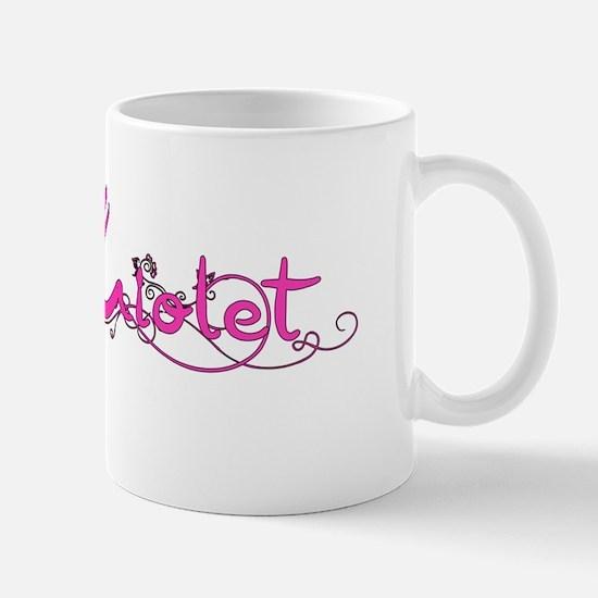 Violet Flower Name Plate Mugs