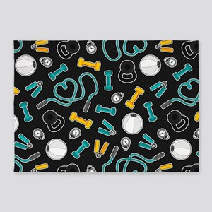 Fitness Love Pattern Aqua and Yellow 5'x7'Area Rug