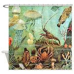 Vintage Colorful Sea Creatures Shower Curtain