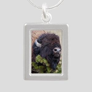 Christmas Bison Silver Portrait Necklace