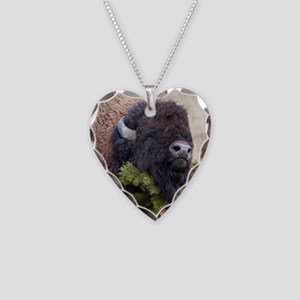 Christmas Bison Necklace Heart Charm