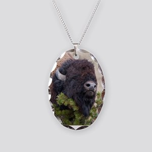 Christmas Bison Necklace Oval Charm
