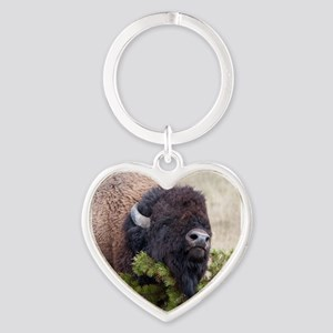 Christmas Bison Heart Keychain