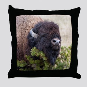 Christmas Bison Throw Pillow