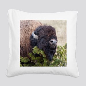 Christmas Bison Square Canvas Pillow