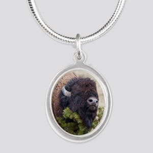 Christmas Bison Silver Oval Necklace